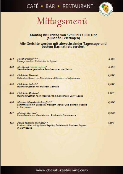 Mittagskarte Chandi - indisches Restaurant in Berlin Steglitz