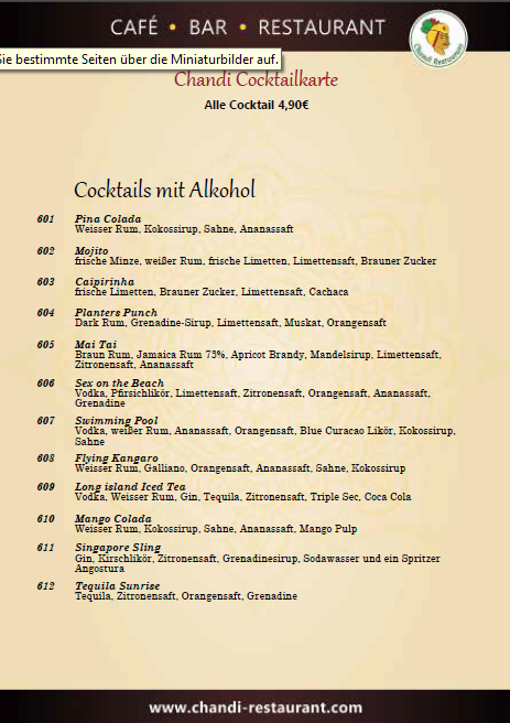 Chandi, indisches Restaurant Berlin-Steglitz, Cocktailkarte