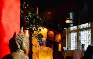 """Blick auf die Bar aus dem Raum """"Mirza und Sahiba"""""""